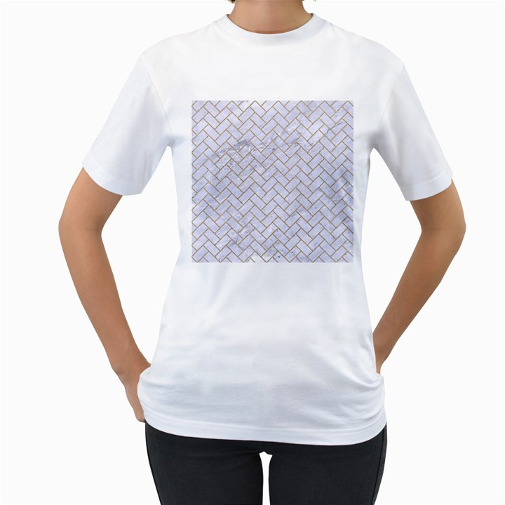 BRICK2 WHITE MARBLE & SAND (R) Women s T-Shirt (White) (Two Sided)