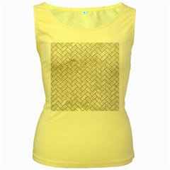 Brick2 White Marble & Sand (r) Women s Yellow Tank Top by trendistuff