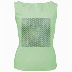 BRICK2 WHITE MARBLE & SAND (R) Women s Green Tank Top