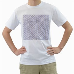 BRICK2 WHITE MARBLE & SAND (R) Men s T-Shirt (White) (Two Sided)