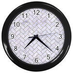BRICK2 WHITE MARBLE & SAND (R) Wall Clocks (Black) Front