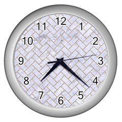 Brick2 White Marble & Sand (r) Wall Clocks (silver)  by trendistuff