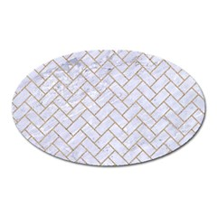BRICK2 WHITE MARBLE & SAND (R) Oval Magnet