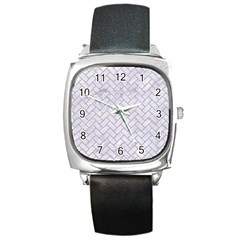 Brick2 White Marble & Sand (r) Square Metal Watch by trendistuff