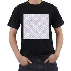 Brick2 White Marble & Sand (r) Men s T Shirt (black) (two Sided)