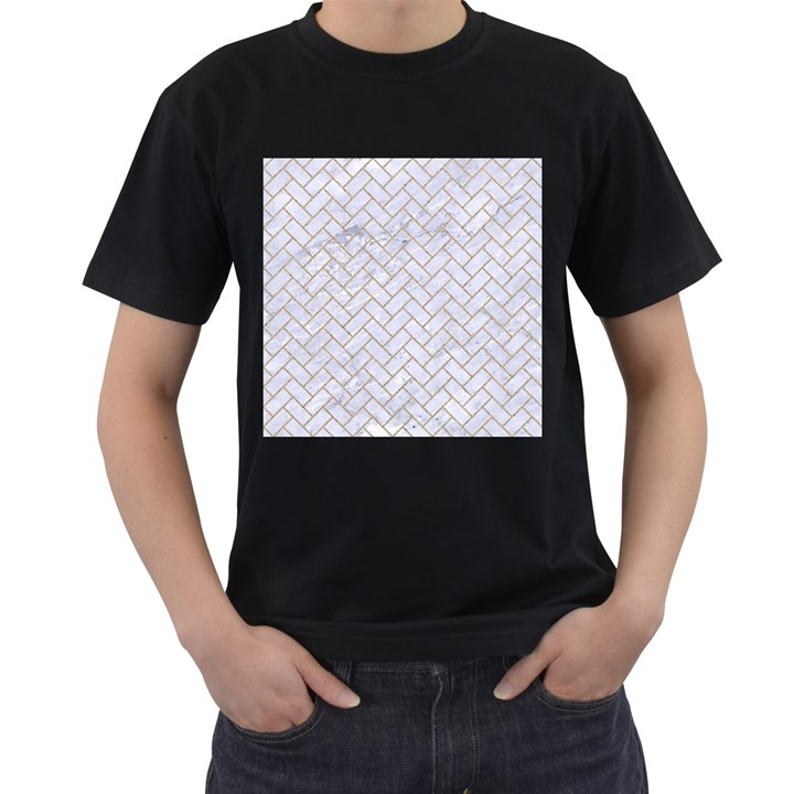 BRICK2 WHITE MARBLE & SAND (R) Men s T-Shirt (Black) (Two Sided)
