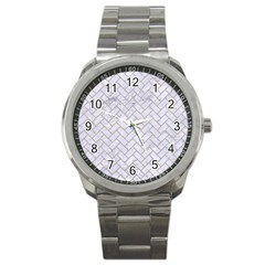Brick2 White Marble & Sand (r) Sport Metal Watch by trendistuff