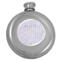 Brick2 White Marble & Sand (r) Round Hip Flask (5 Oz)