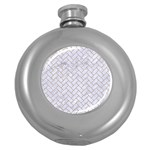 BRICK2 WHITE MARBLE & SAND (R) Round Hip Flask (5 oz) Front