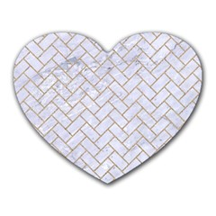 BRICK2 WHITE MARBLE & SAND (R) Heart Mousepads