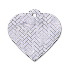 Brick2 White Marble & Sand (r) Dog Tag Heart (one Side) by trendistuff