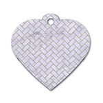 BRICK2 WHITE MARBLE & SAND (R) Dog Tag Heart (One Side) Front