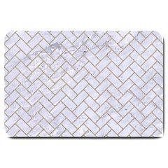 BRICK2 WHITE MARBLE & SAND (R) Large Doormat