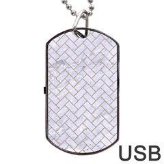 BRICK2 WHITE MARBLE & SAND (R) Dog Tag USB Flash (Two Sides)