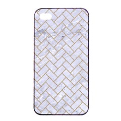 BRICK2 WHITE MARBLE & SAND (R) Apple iPhone 4/4s Seamless Case (Black)