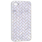 BRICK2 WHITE MARBLE & SAND (R) Apple iPhone 4/4s Seamless Case (White) Front