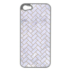 BRICK2 WHITE MARBLE & SAND (R) Apple iPhone 5 Case (Silver)