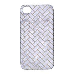 BRICK2 WHITE MARBLE & SAND (R) Apple iPhone 4/4S Hardshell Case with Stand