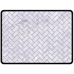 BRICK2 WHITE MARBLE & SAND (R) Double Sided Fleece Blanket (Large)