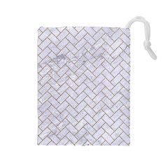 BRICK2 WHITE MARBLE & SAND (R) Drawstring Pouches (Large)