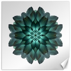 Blue Green Dahlia Flower Mandala Canvas 12  X 12  by flowermandalas