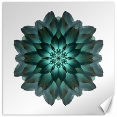 Blue Green Dahlia Flower Mandala Canvas 16  X 16  by flowermandalas