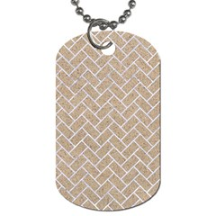 Brick2 White Marble & Sand Dog Tag (one Side) by trendistuff