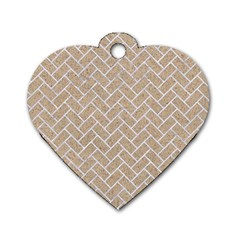 Brick2 White Marble & Sand Dog Tag Heart (one Side) by trendistuff