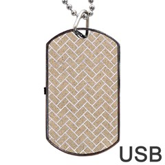 Brick2 White Marble & Sand Dog Tag Usb Flash (one Side) by trendistuff