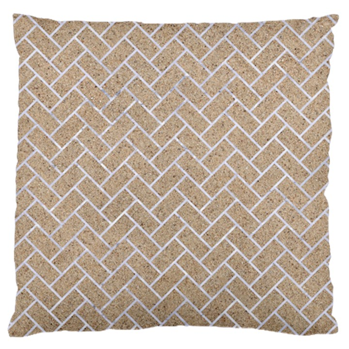 BRICK2 WHITE MARBLE & SAND Large Cushion Case (One Side)