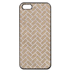 Brick2 White Marble & Sand Apple Iphone 5 Seamless Case (black) by trendistuff