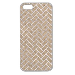 Brick2 White Marble & Sand Apple Seamless Iphone 5 Case (clear) by trendistuff