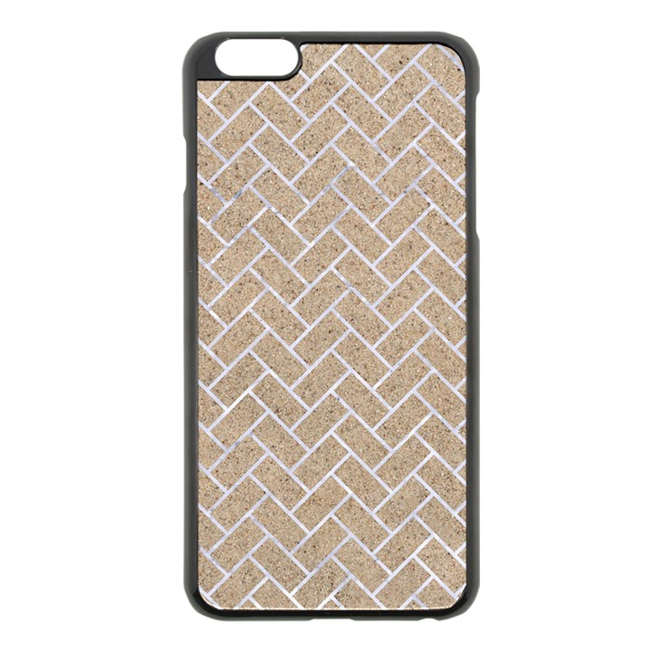 BRICK2 WHITE MARBLE & SAND Apple iPhone 6 Plus/6S Plus Black Enamel Case