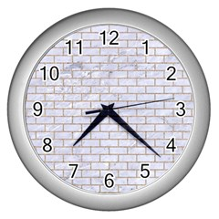 Brick1 White Marble & Sand (r) Wall Clocks (silver)  by trendistuff