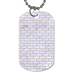 Brick1 White Marble & Sand (r) Dog Tag (two Sides) by trendistuff