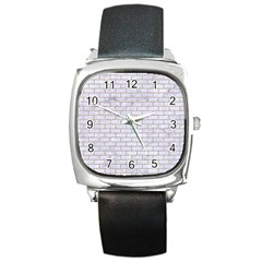 Brick1 White Marble & Sand (r) Square Metal Watch by trendistuff