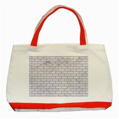 Brick1 White Marble & Sand (r) Classic Tote Bag (red) by trendistuff