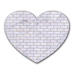 Brick1 White Marble & Sand (r) Heart Mousepads by trendistuff