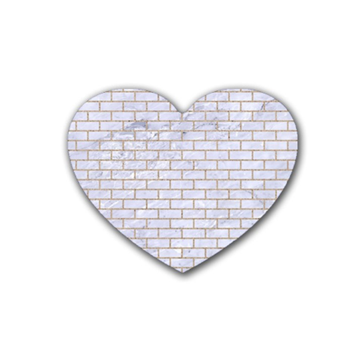 BRICK1 WHITE MARBLE & SAND (R) Heart Coaster (4 pack)