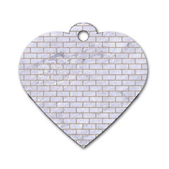 Brick1 White Marble & Sand (r) Dog Tag Heart (two Sides) by trendistuff