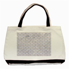 Brick1 White Marble & Sand (r) Basic Tote Bag (two Sides) by trendistuff