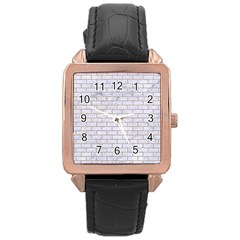 Brick1 White Marble & Sand (r) Rose Gold Leather Watch  by trendistuff