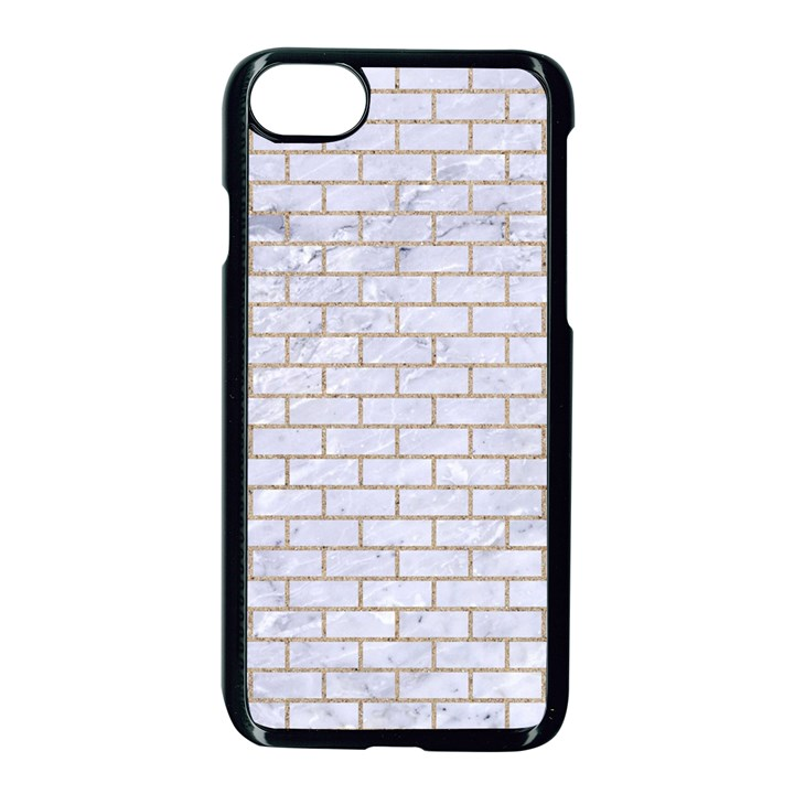 BRICK1 WHITE MARBLE & SAND (R) Apple iPhone 8 Seamless Case (Black)