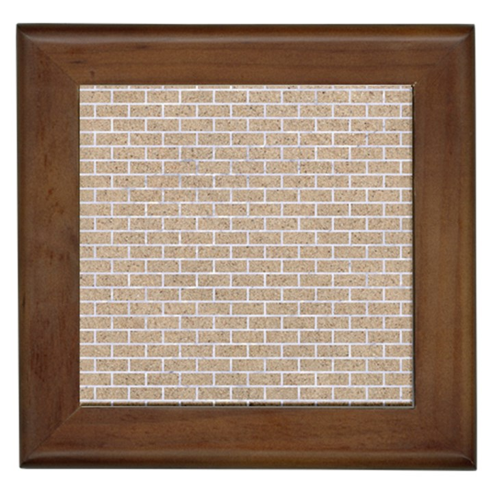 BRICK1 WHITE MARBLE & SAND Framed Tiles