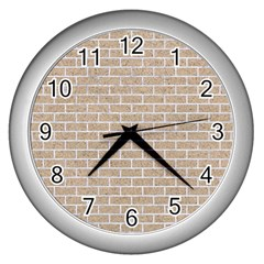 Brick1 White Marble & Sand Wall Clocks (silver)  by trendistuff