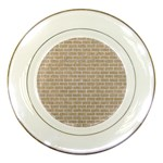 BRICK1 WHITE MARBLE & SAND Porcelain Plates Front