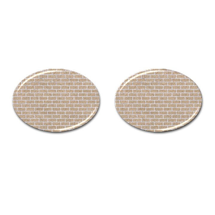 BRICK1 WHITE MARBLE & SAND Cufflinks (Oval)