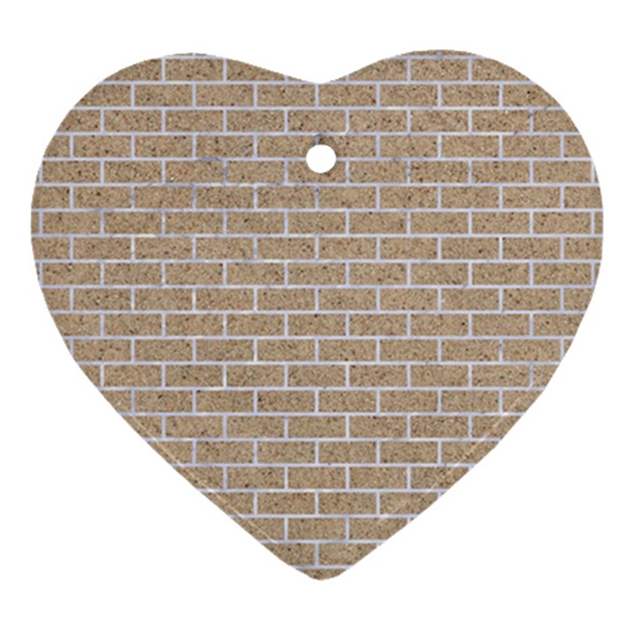 BRICK1 WHITE MARBLE & SAND Heart Ornament (Two Sides)