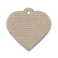 Brick1 White Marble & Sand Dog Tag Heart (two Sides) by trendistuff