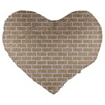 BRICK1 WHITE MARBLE & SAND Large 19  Premium Heart Shape Cushions Front